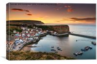 Staithes Sunset From Penny Nab, Canvas Print