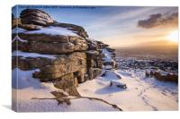 Snow at Great Mis Tor, Canvas Print