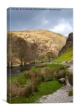 Dovedale and River Dove, Canvas Print