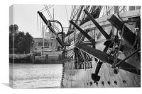 HMS Warrior - Black & White, Canvas Print