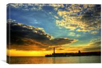 Margate harbour arm at the golden hour., Canvas Print