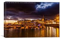 Ramsgate harbour at night, Canvas Print