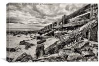 Dramatic clouds above the Groynes, Canvas Print
