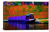 A digitally converted painting of a canal barge in, Canvas Print