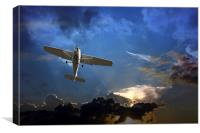 Small fixed wing plane against a stormy sky , Canvas Print