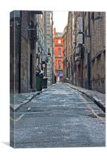Looking down an empty inner city alleyway, Canvas Print
