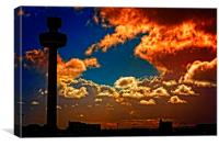 Liverpool skyline in silhouette against a stormy s, Canvas Print