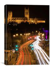 Lincoln Cathedral and light trail, Canvas Print