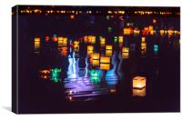 Festival of lights on water, Canvas Print