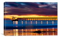 Venoco Ellwood Pier, in Bacara beach CA at sunset, Canvas Print