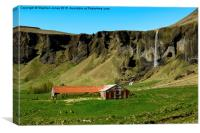 Livestock building with waterfall in background, , Canvas Print