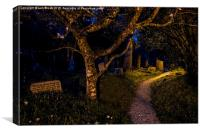 Night in the Graveyard, St. Just in Roseland, Canvas Print
