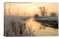 Henfield, West Sussex,  Frosty sunrise over river, Canvas Print