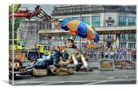 Liverpool Giant Girl & Dog at Rest, Canvas Print