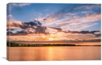 Sun Sets at Budle Bay........, Canvas Print