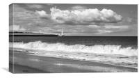 Beach view of St. Marys Lighthouse , Canvas Print