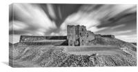 Majestic Ruins of Tynemouth Castle in Mono, Canvas Print
