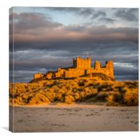 Sunset at Bamburgh Castle, Canvas Print