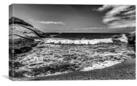 Beautiful bay in lack and white, Canvas Print