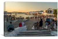 Mykonos charm in the evening, Canvas Print