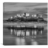 Twilight at Bamburgh Castle  in Mono, Canvas Print