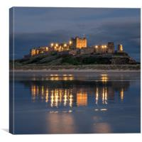 Bamburgh Castle Evening Blue, Canvas Print