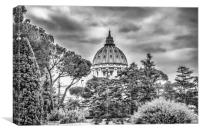 A black and white photo of St Peters Basilica , Canvas Print