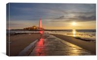 Red lighthouse at night Sailors delight, Canvas Print