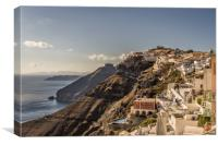 Beautiful view over Fira town, Canvas Print