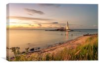Beautiful landscape at St Mary's lighthouse, Canvas Print