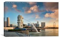 Singapore, The Merlion at Sunrise, Canvas Print