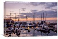 Day's end at Hythe Marina, Canvas Print