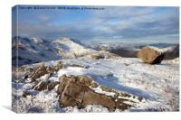 Crinkle Crags and Bow Fell in Winter, Canvas Print