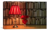Table lamp and roses, Canvas Print