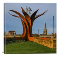 The Crooked Spire and the pomegranate flower, Canvas Print