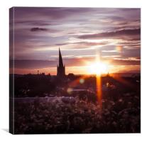 The Crooked Spire at sunset , Canvas Print