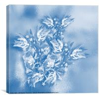 Beautiful flower bouquet on a rippled blue backgro, Canvas Print