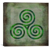 Watercolor Triple Spiral , Canvas Print