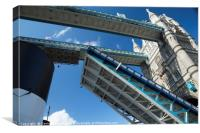 Tower bridge openin for the paddle steamer SS Wave, Canvas Print