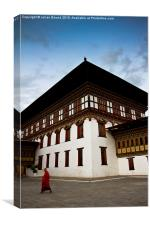 Buddhist Monk of Tashi Chho Dzong Fortress, Bhutan, Canvas Print