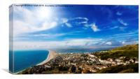 View over British seaside town and coastline, Canvas Print