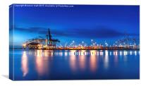 Container port and sea at dusk, Canvas Print