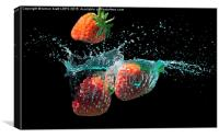 Strawberries splashed into water, Canvas Print
