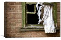 Abandonded building window and curtains, Canvas Print