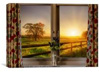 Window with stunning rural sunset view, Canvas Print
