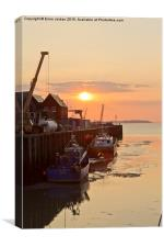 Sunset at Whitstable Harbour,Kent, Canvas Print