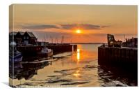 Whitstable harbour view at sunset, Canvas Print