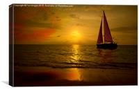 sunset sea and boat, Canvas Print