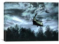 chinook over the ground, Canvas Print