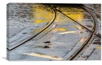 Manchester reflections of a commuter tram, Canvas Print